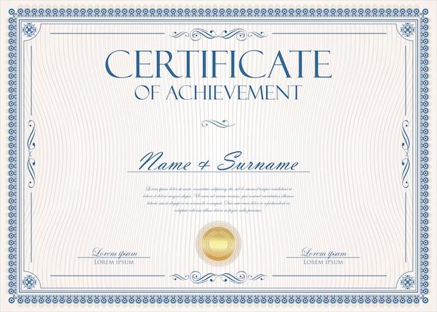 Modello vintage retrò certificato o diploma Vettore Premium