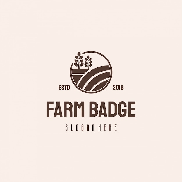 Modello vintage retrò di farm house badge logo hipster, logo agricoltura Vettore Premium