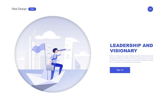 Modello web aziendale di visione, leadership. Vettore Premium