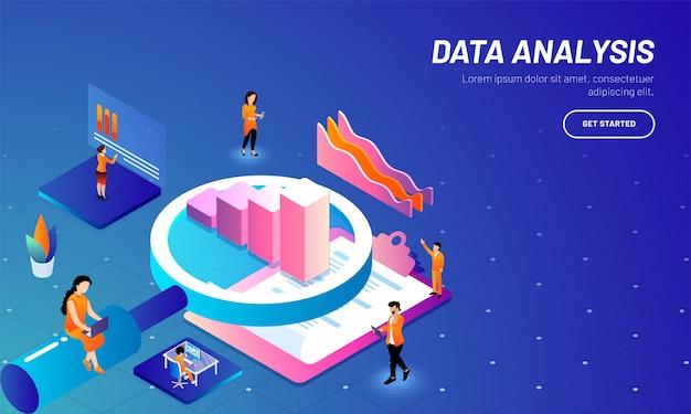 Modello web basato su concetto di analisi dei dati. Vettore Premium