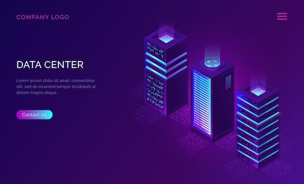 Modello web del data center, icone degli scaffali del server Vettore gratuito