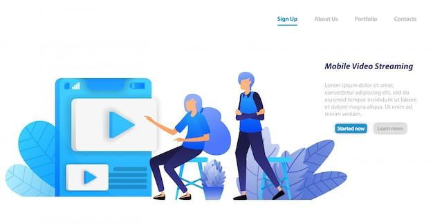 Modello web della pagina di destinazione. app di condivisione e streaming video online mobile. le persone scelgono i video influenzatori per giocare e guardare Vettore Premium