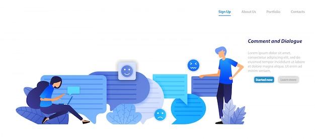 Modello web della pagina di destinazione. casella di commento e finestra di dialogo. le persone si chattano l'un l'altro con le emoticon di chat bubble per il parlato e la comunicazione. Vettore Premium