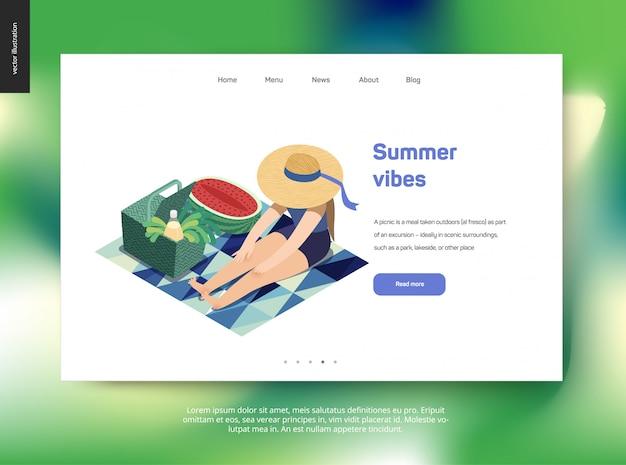 Modello web della pagina di destinazione con tema estivo, donna pic-nic Vettore Premium