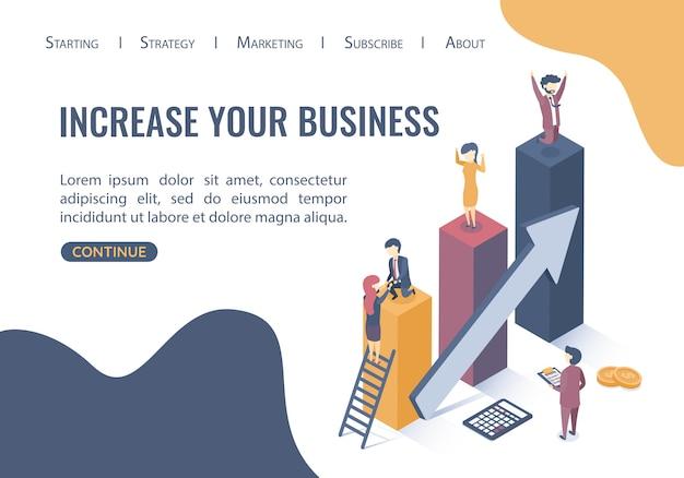 Modello web della pagina di destinazione. concetto di business di obiettivi, successo, successo e sfida. lavoro di squadra nel mondo degli affari. stile piatto Vettore Premium