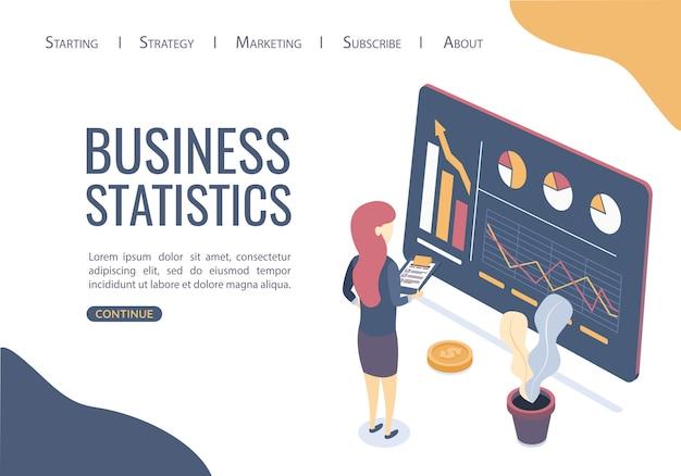 Modello web della pagina di destinazione. concetto di statistiche aziendali. trovare le migliori soluzioni per promuovere idee di business. Vettore Premium