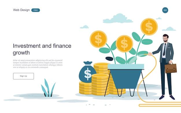 Modello web della pagina di destinazione. concetto per finanziario e investimenti. ritorno sull'investimento. Vettore Premium