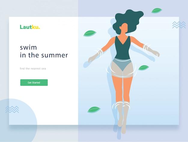 Modello web della pagina di destinazione. donna in piscina in vacanza Vettore Premium