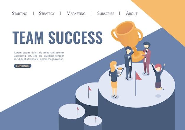 Modello web della pagina di destinazione. il concetto della vittoria del team di business. successo della squadra, stile piano. Vettore Premium