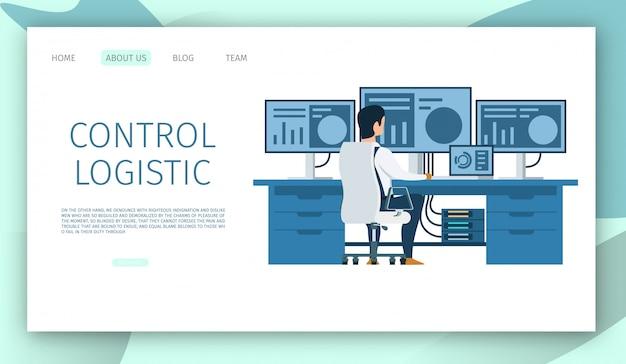Modello web della pagina di destinazione. ingegnere posto di lavoro. carattere che lavora al computer Vettore Premium