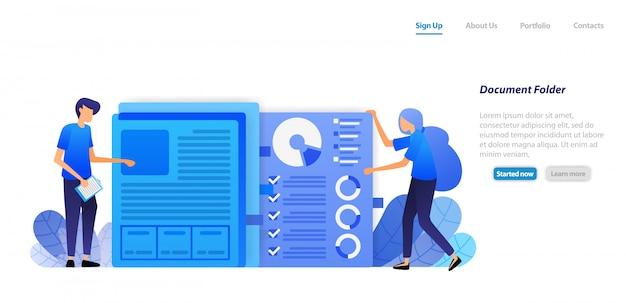 Modello web della pagina di destinazione. organizzare e riordinare i documenti cartacei del diagramma dei dati finanziari dell'azienda in una cartella per l'amministrazione. Vettore Premium