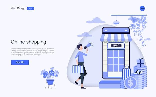 Modello web della pagina di destinazione per acquisti e servizi online Vettore Premium