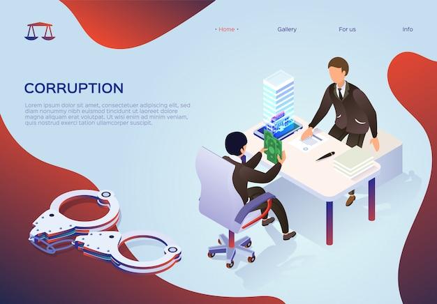 Modello web della pagina di destinazione per corruzione, corruzione di funzionari. Vettore Premium