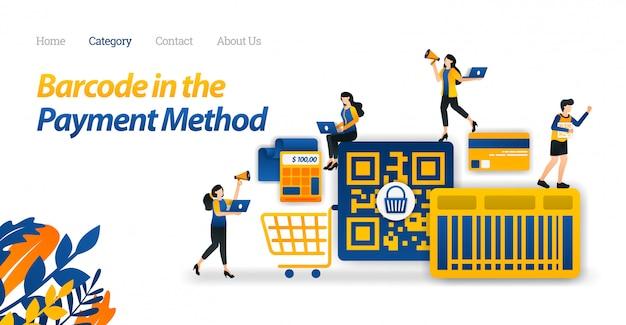 Modello web della pagina di destinazione per il design di pagamento acquisti con un codice a barre o un metodo di codice qr per semplificare lo shopping. Vettore Premium