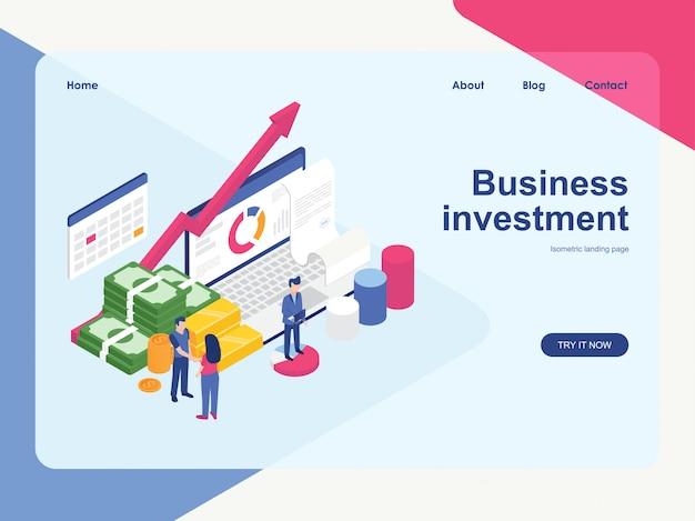Modello web della pagina di destinazione. progettazione isometrica piana moderna di concetto di investimento aziendale Vettore Premium