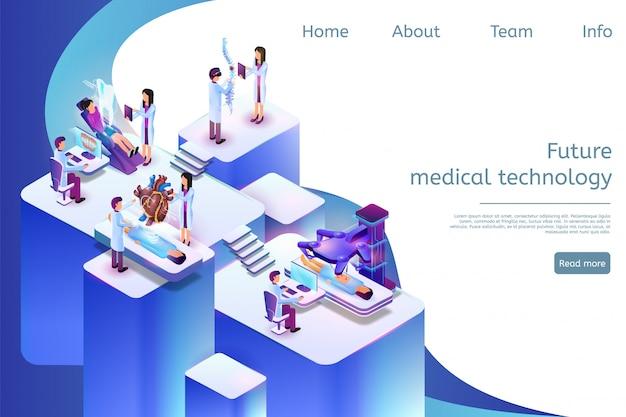 Modello web della pagina di destinazione tecnologia medica futura in 3d Vettore Premium