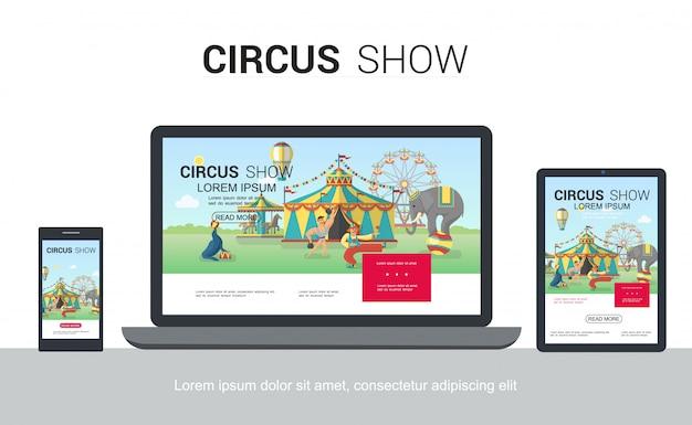 Modello web di design adattivo circo piatto con sigillo addestrato elefante giocoleria clown strongman tenda ruota panoramica carosello su schermi di tablet portatile portatile isolato Vettore gratuito