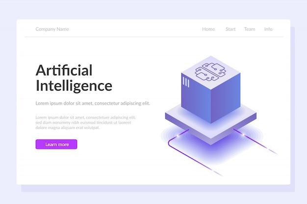 Modello web di intelligenza artificiale Vettore Premium