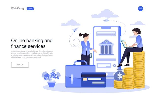 Modello web di pagina di destinazione concetto di business per operazioni bancarie online, transazioni finanziarie. Vettore Premium