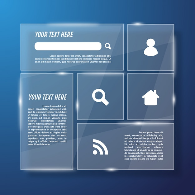 Modello web di vetro trasparente Vettore gratuito