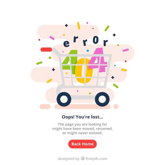 Modello web errore 404 con carrello della spesa in stile piatto Vettore gratuito