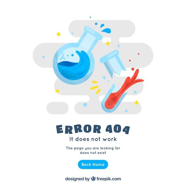 Modello web errore 404 con prodotti chimici in stile piano Vettore gratuito