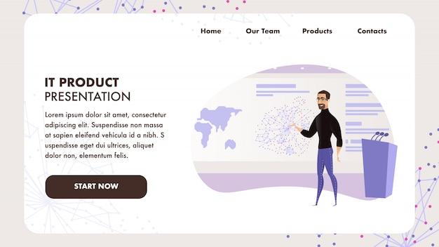 Modello web pagina di destinazione con illustrazione piatta uomo barbuto che dà discorso pubblico Vettore Premium
