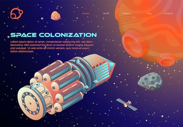 Modello web pagina di destinazione con space colonization tema dei cartoni animati Vettore Premium