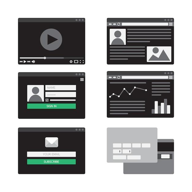 Modello web per forme di sito di posta elettronica iscriviti, accedi all'account, guarda video Vettore Premium