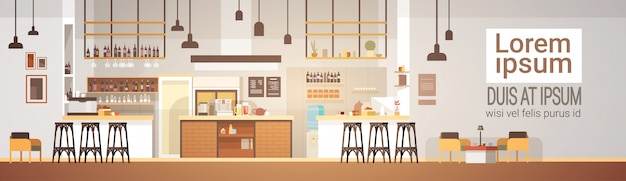 Modern cafe interior empty no people restaurant Vettore Premium