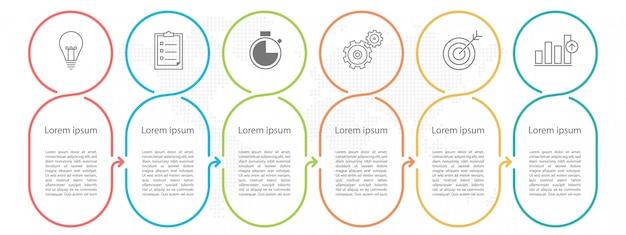 Modern circle timeline infographic 6 opzioni o passaggi. Vettore Premium