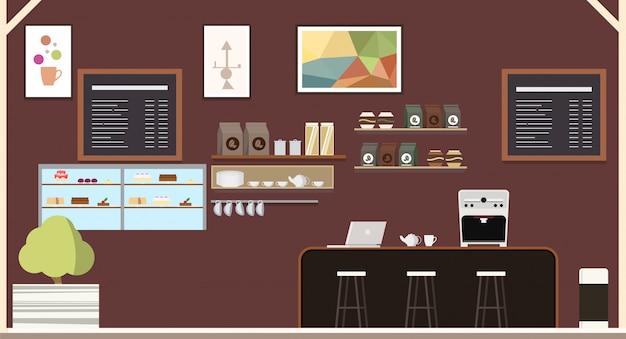 Modern coffeehouse coffee shop interior design Vettore Premium
