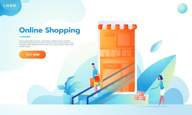 Modern flat design people e business concept per m-commerce, facile da usare e altamente personalizzabile. concetto di illustrazione vettoriale moderno. Vettore Premium