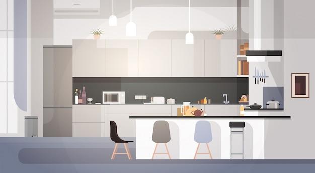 Modern kitchen interior empty nessuna stanza della gente Vettore Premium