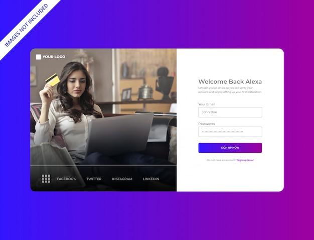 Modern login page design per uso polivalente Vettore Premium