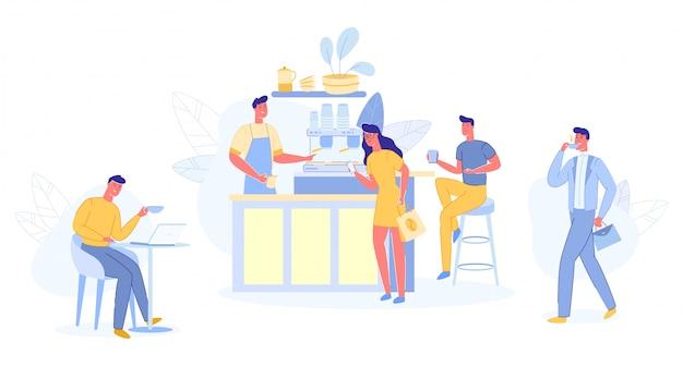 Modern place interior dove incontrarsi, bere e mangiare, chattare Vettore Premium