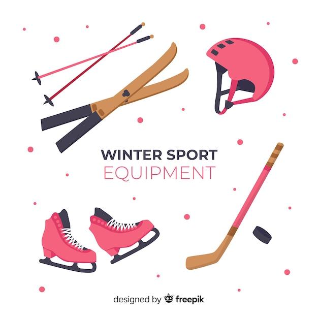 Moderna attrezzatura sportiva invernale con design piatto Vettore gratuito