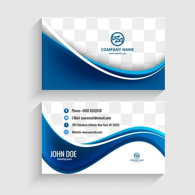 Moderna biglietto da visita con le onde blu Vettore gratuito