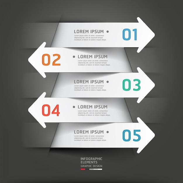 Moderna carta tagliata freccia infografica. Vettore Premium