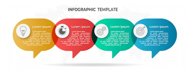 Moderna infografica 4 opzioni. Vettore Premium