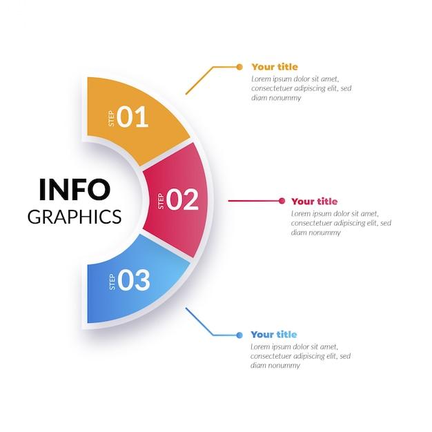 Moderna infografica colorato con passaggi Vettore gratuito