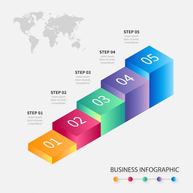 Moderna infografica passi di affari colorati Vettore gratuito