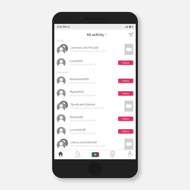 Moderna interfaccia app tiktok su smartphone Vettore gratuito