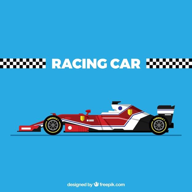 Moderna macchina da corsa di formula 1 con design piatto Vettore gratuito