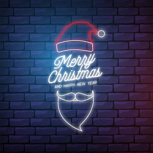 Moderna merry christmas card in stile neon Vettore gratuito