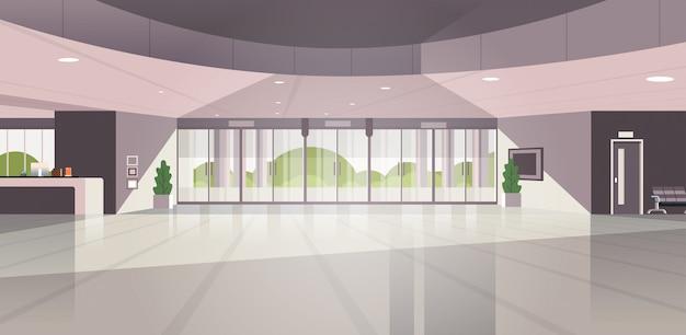 Moderna reception vuota nessuna gente hall contemporanea hall dell'hotel Vettore Premium