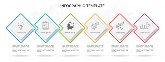 Moderna timeline infografica 6 opzioni Vettore Premium