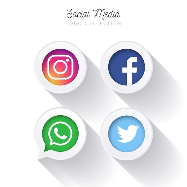 Moderni pulsanti di social media Vettore gratuito