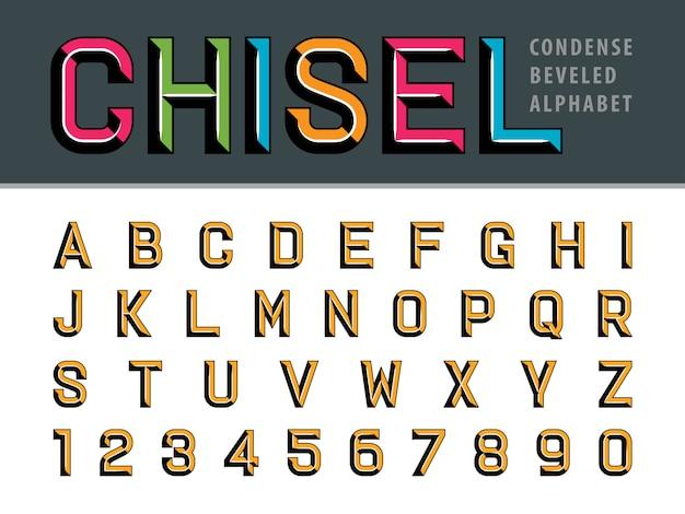 Moderno alfabeto cesellato lettere e numeri, caratteri stilizzati smussati Vettore Premium