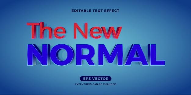 Moderno blu nuovo normale effetto di testo modificabile Vettore Premium
